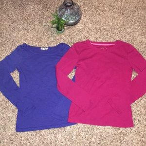 Tops - ✨BOGO Free✨ Pink & Blue Crew Neck Long Sleeves XS